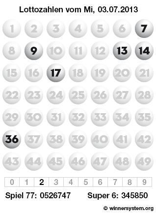 Lottozahlen vom 03.07.2013 als Tippmuster