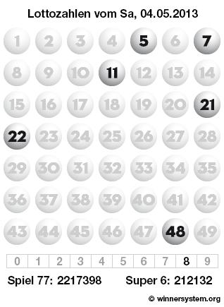 Lottozahlen vom 04.05.2013 als Tippmuster