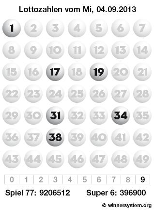 Lottozahlen vom 04.09.2013 als Tippmuster