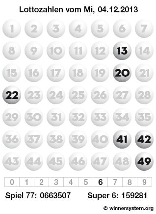 Lottozahlen vom 04.12.2013 als Tippmuster