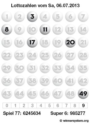 Lottozahlen vom 06.07.2013 als Tippmuster