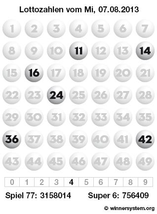 Lottozahlen vom 07.08.2013 als Tippmuster