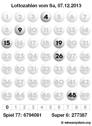Lottozahlen vom 07.12.2013 als Tippmuster