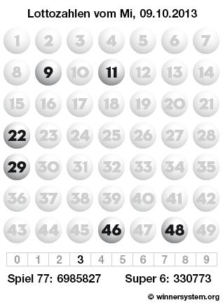 Lottozahlen vom 09.10.2013 als Tippmuster