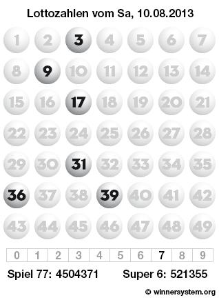 Lottozahlen vom 10.08.2013 als Tippmuster