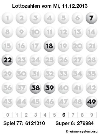 Lottozahlen vom 11.12.2013 als Tippmuster