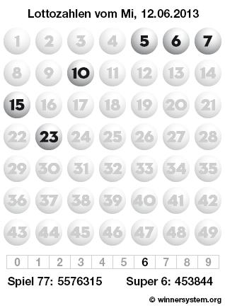 Lottozahlen vom 12.06.2013 als Tippmuster