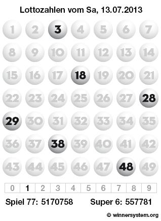 Lottozahlen vom 13.07.2013 als Tippmuster