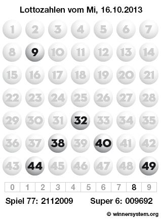 Lottozahlen vom 16.10.2013 als Tippmuster