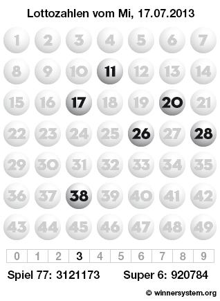 Lottozahlen vom 17.07.2013 als Tippmuster
