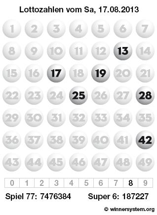 Lottozahlen vom 17.08.2013 als Tippmuster