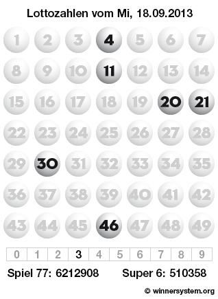 Lottozahlen vom 18.09.2013 als Tippmuster