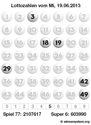 Lottozahlen vom 19.06.2013 als Tippmuster