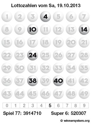 Lottozahlen vom 19.10.2013 als Tippmuster