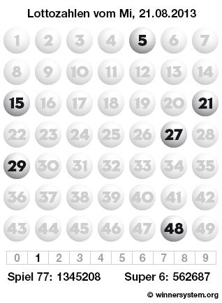 Lottozahlen vom 21.08.2013 als Tippmuster