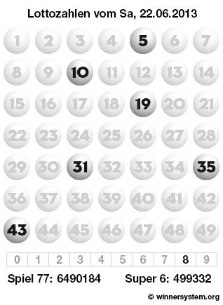 Lottozahlen vom 22.06.2013 als Tippmuster
