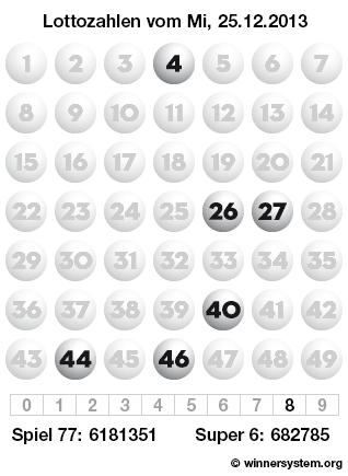 Lottozahlen vom 25.12.2013 als Tippmuster