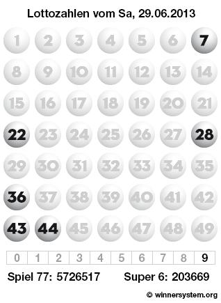 Lottozahlen vom 29.06.2013 als Tippmuster