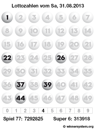 Lottozahlen vom 31.08.2013 als Tippmuster