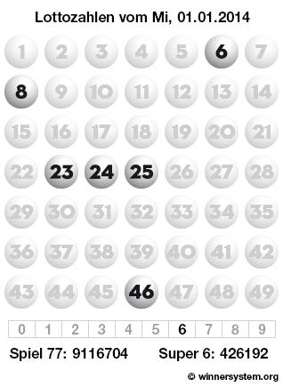 Lottozahlen vom 01.01.2014 als Tippmuster