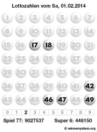 Lottozahlen vom 01.02.2014 als Tippmuster