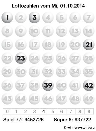 Lottozahlen vom 01.10.2014 als Tippmuster