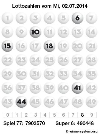 Lottozahlen vom 02.07.2014 als Tippmuster