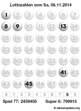 Lottozahlen vom 08.11.2014 als Tippmuster
