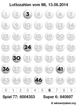 Lottozahlen vom 13.08.2014 als Tippmuster