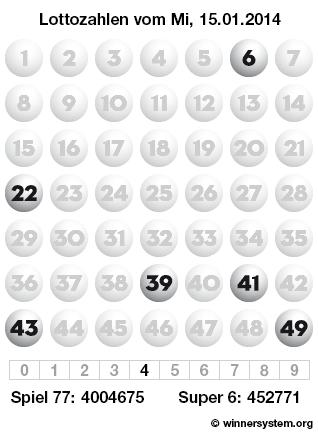 Lottozahlen vom 15.01.2014 als Tippmuster