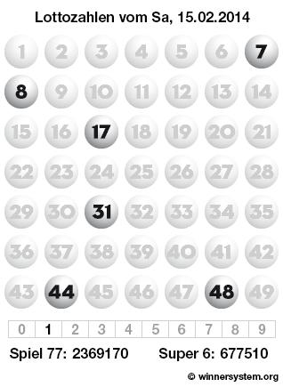 Lottozahlen Samstag, 15.02.2014 (Lotto Archiv)