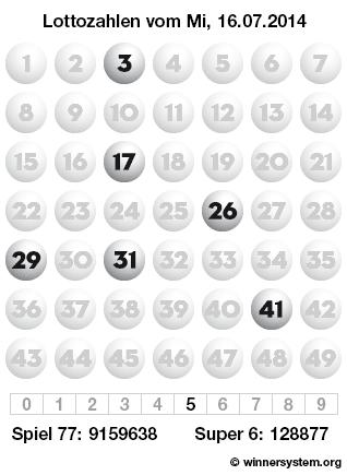Lottozahlen Mittwoch, 16.07.2014 (Lotto Archiv)