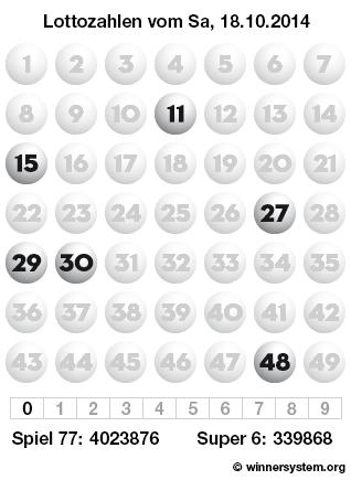 Lottozahlen vom 18.10.2014 als Tippmuster
