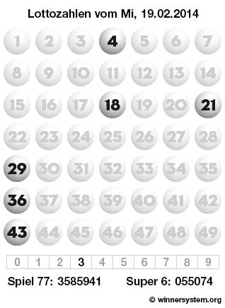 Lottozahlen vom 19.02.2014 als Tippmuster