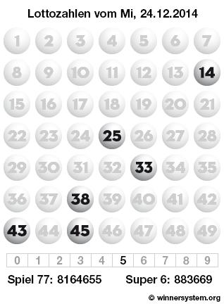 Lottozahlen vom 24.12.2014 als Tippmuster