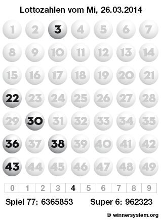 Lottozahlen vom 26.03.2014 als Tippmuster