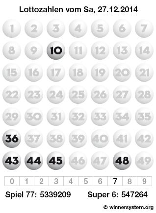 Lottozahlen vom 27.12.2014 als Tippmuster