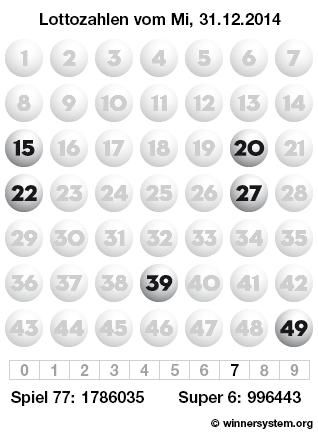 Lottozahlen vom 31.12.2014 als Tippmuster
