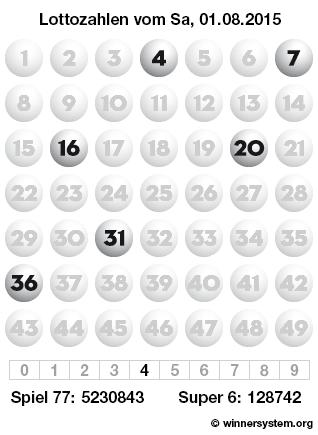 Lottozahlen vom 01.08.2015 als Tippmuster