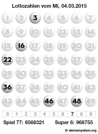 Lottozahlen vom 04.03.2015 als Tippmuster