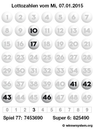Lottozahlen vom 07.01.2015 als Tippmuster