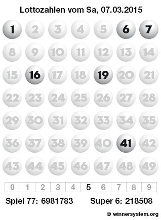 Lottozahlen vom 07.03.2015 als Tippmuster
