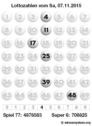Lottozahlen vom 07.11.2015 als Tippmuster