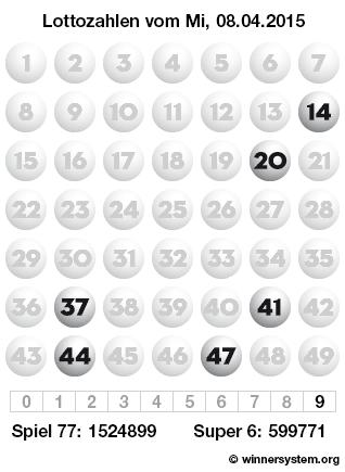 Lottozahlen vom 08.04.2015 als Tippmuster