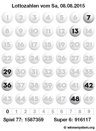Lottozahlen vom 08.08.2015 als Tippmuster