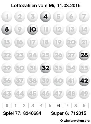 Lottozahlen vom 11.03.2015 als Tippmuster
