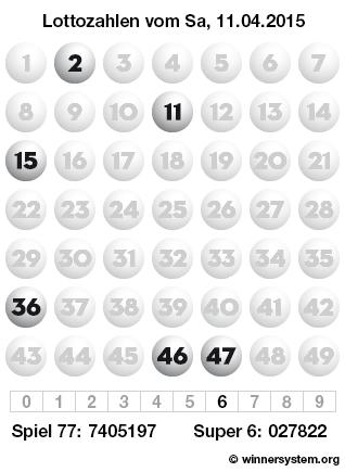Lottozahlen vom 11.04.2015 als Tippmuster