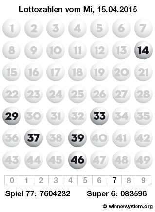 Lottozahlen vom 15.04.2015 als Tippmuster