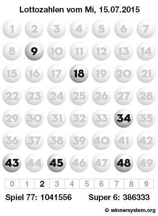 Lottozahlen vom 15.07.2015 als Tippmuster