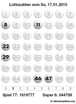 Lottozahlen vom 17.01.2015 als Tippmuster